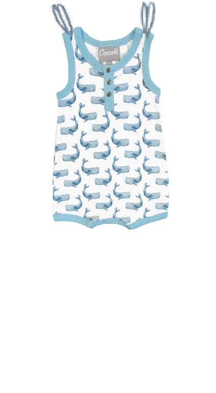 Jersey romper whale print